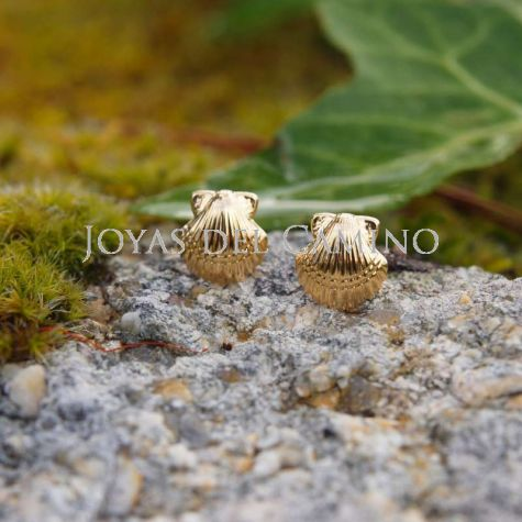 Jakobsmuschel Ohrringe gold Coquille Chemin Saint Jacques or Saint James scallop shell gold earrings