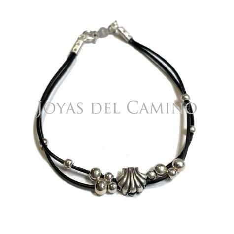Bracelet leather scallop shell camino pearls