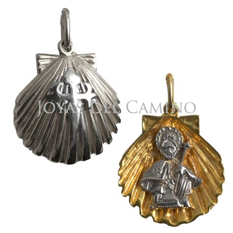Golden silver venera shell Cross of Santiago