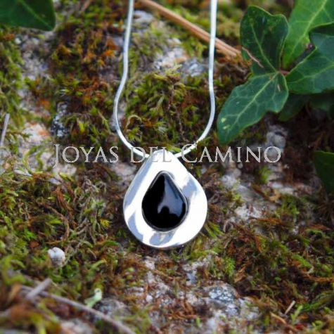 Silver and Black Jet Pendant Handmade