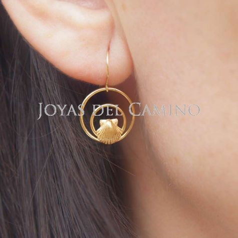 Coquille Saint Jacques boucles d'oreilles or Scallop Shell Camino gold Earrings Pendientes vieira oro