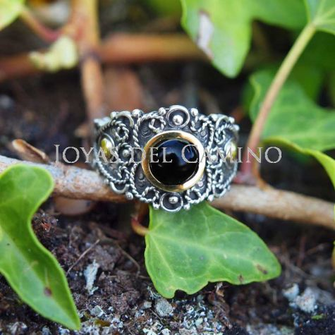 Bague argent jais or artisanat filigree Chemin de Saint Jacques